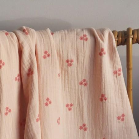 tissu double gaze sweet flower - rose pêche