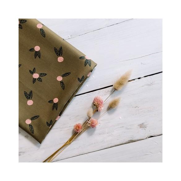 tissu pomelos kaki- un chat sur un fil
