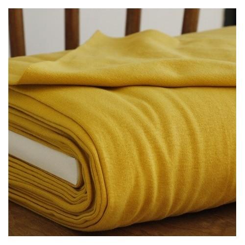 tissu bord côte jaune moutarde bio