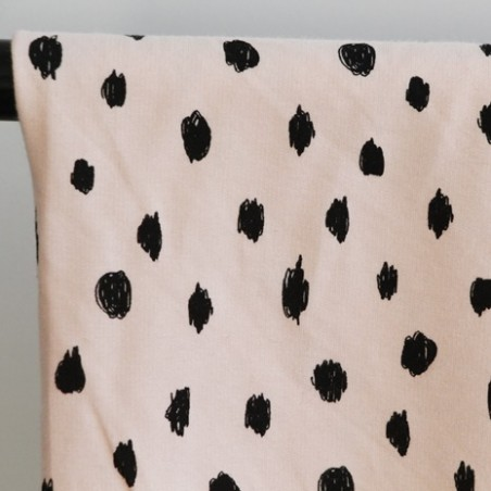 tissu molleton bio painted dots rose
