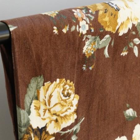velours milleraies imprimé fleurs marron