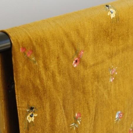 tissu velours milleraies petits fleurs - ocre