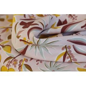 tissu viscose fleurs - rose