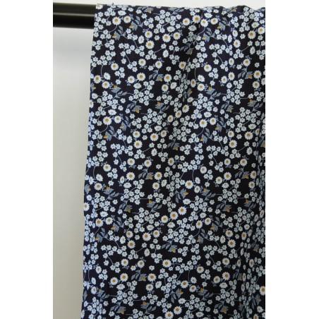 coton imprimée fleurs bleues