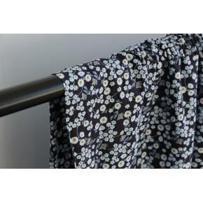 popeline coton imprimée fleurs bleues