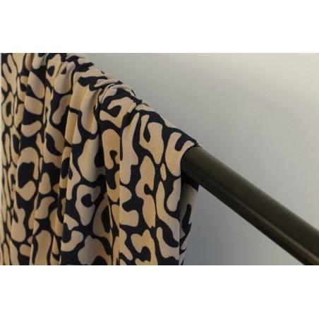 tissu crêpe polyester marine et beige