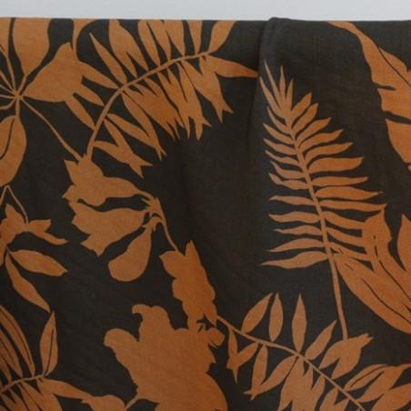 viscose imprimé tropique caramel et noir