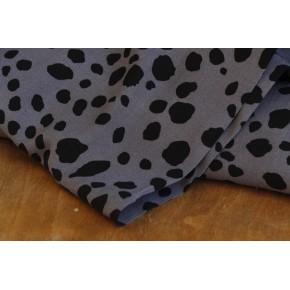tissu viscose léo gris et noir