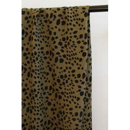 viscose imprimée léopard kaki