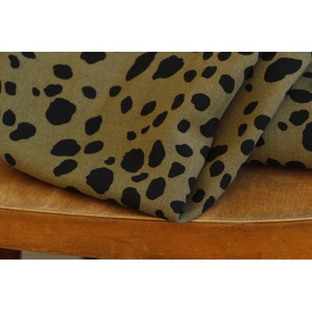 tissu viscose léopard kaki