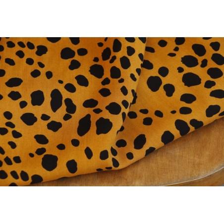 tissu viscose imprimée léopard jaune moutarde