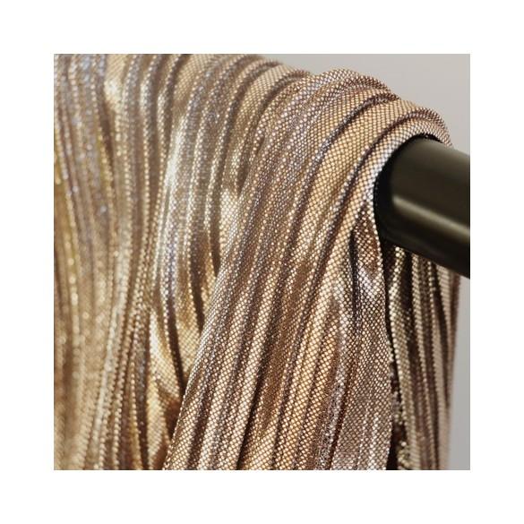 tissu plissé cuivré