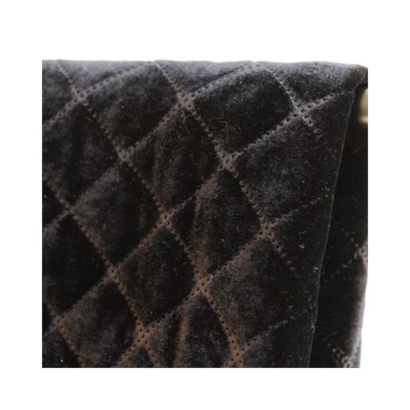 tissu velours matelassé noir