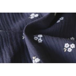 tissu double gaze marine fleurs