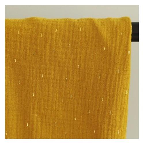 tissu double gaze confettis dorés - moutarde
