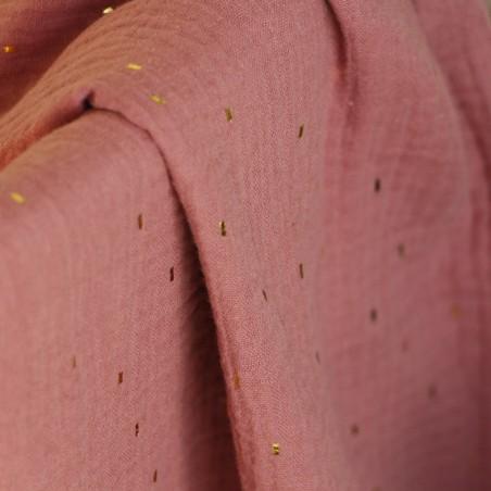 tissu double gaze confetti - vieux rose