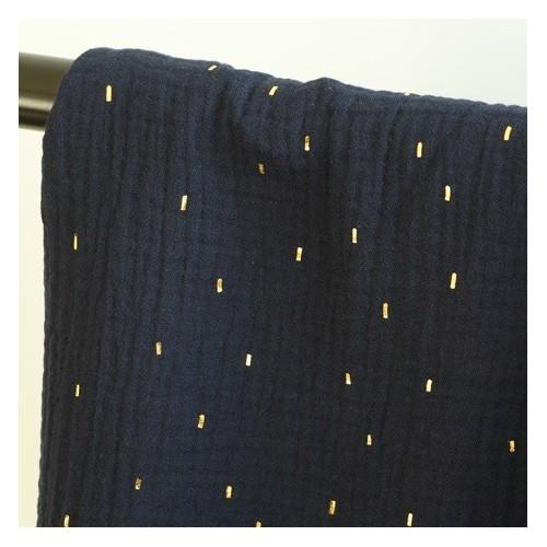 tissu double gaze confetti marine