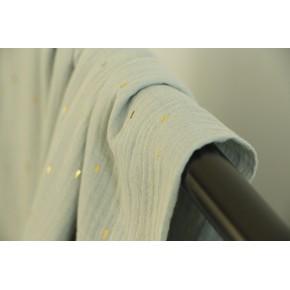 tissu double gaze confetti dorés - vert de gris
