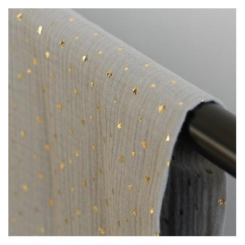 tissu double gaze couronnes dorées - vert de gris
