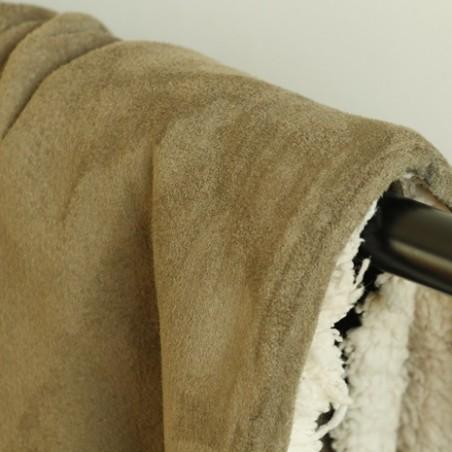 tissu suédine envers mouton - kaki
