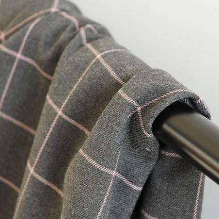 tissu flanelle à carreaux gris et rose