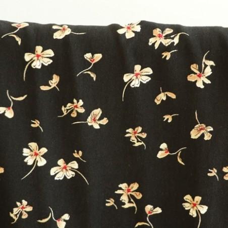 tissu viscose fleurs annie - noir