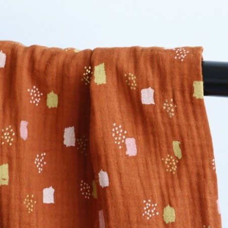 tissu double gaze imprimée - rouille