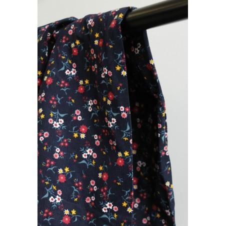 tissu velours milleraies marine à fleurs