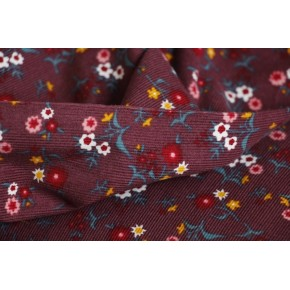 velours milleraies en coton fleuri - bordeaux