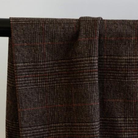 tissu flanelle carreaux marron rouille et lurex doré