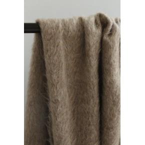 tissu lainage poils longs beige