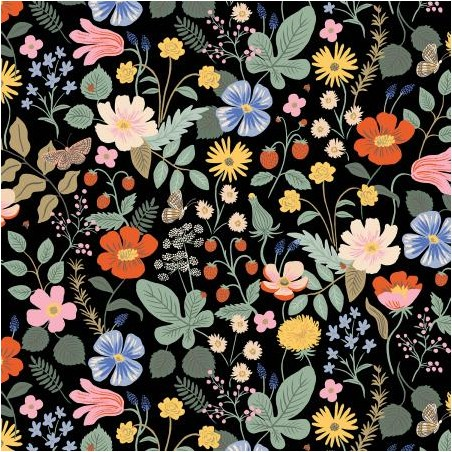 viscose strawberry fields black - rifle paper co