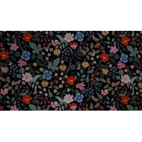 strawberry fields black canvas - rifle paper co