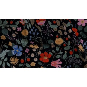 coton canvas strawberry fields black - rifle paper co