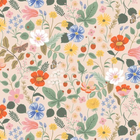 tissu strawberry fields blush - rifle paper co