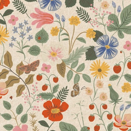 strawberry fields linen unbleached canvas - rifle paper co