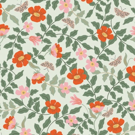 Strawberry fields primrose mint rayon - Rifle paper co