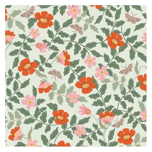 Strawberry fields primrose mint rayon - Rifle paper co