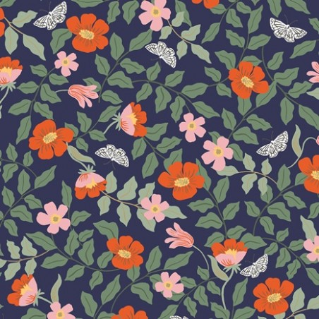 Strawberry fields primrose navy rayon - Rifle paper co