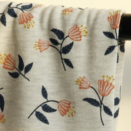 tissu molleton fleurs
