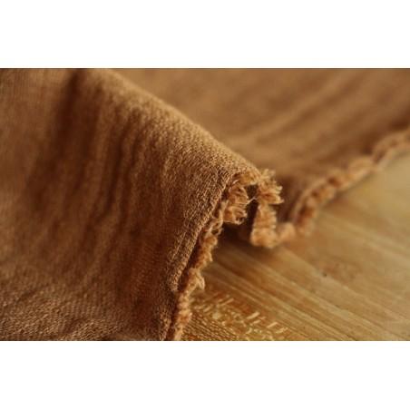 tissu coton texturé caramel