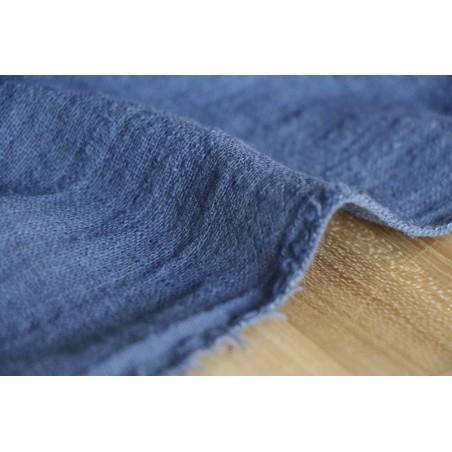 gaze coton texturée - bleu