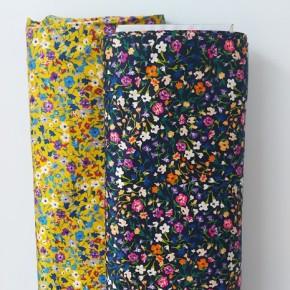 tissu satin de coton fleurs