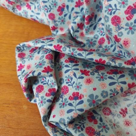 tissu en coton bio fleurs rose et bleu