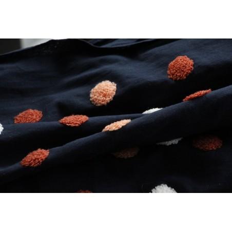 coton marine à pois pompons