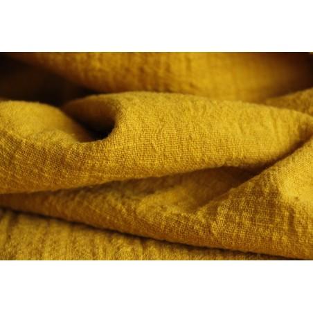 tissu en coton jaune ocre
