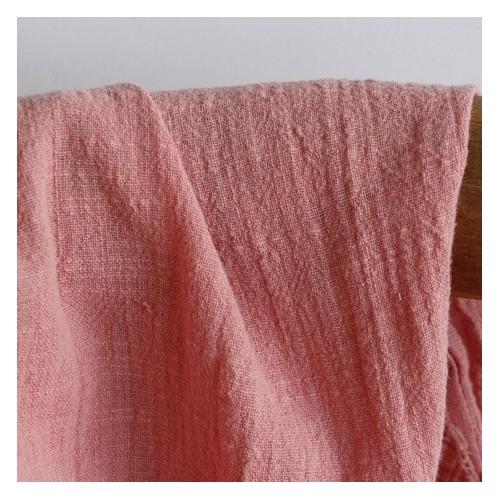 gaze de coton texturé - rose