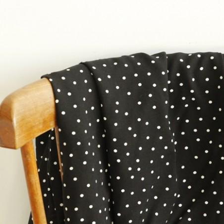 tissu viscose noire pois blancs