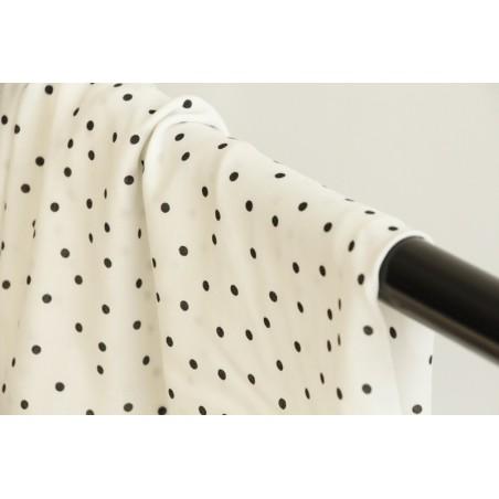 tissu viscose blanche pois noirs