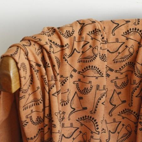 jersey coton dino - camel